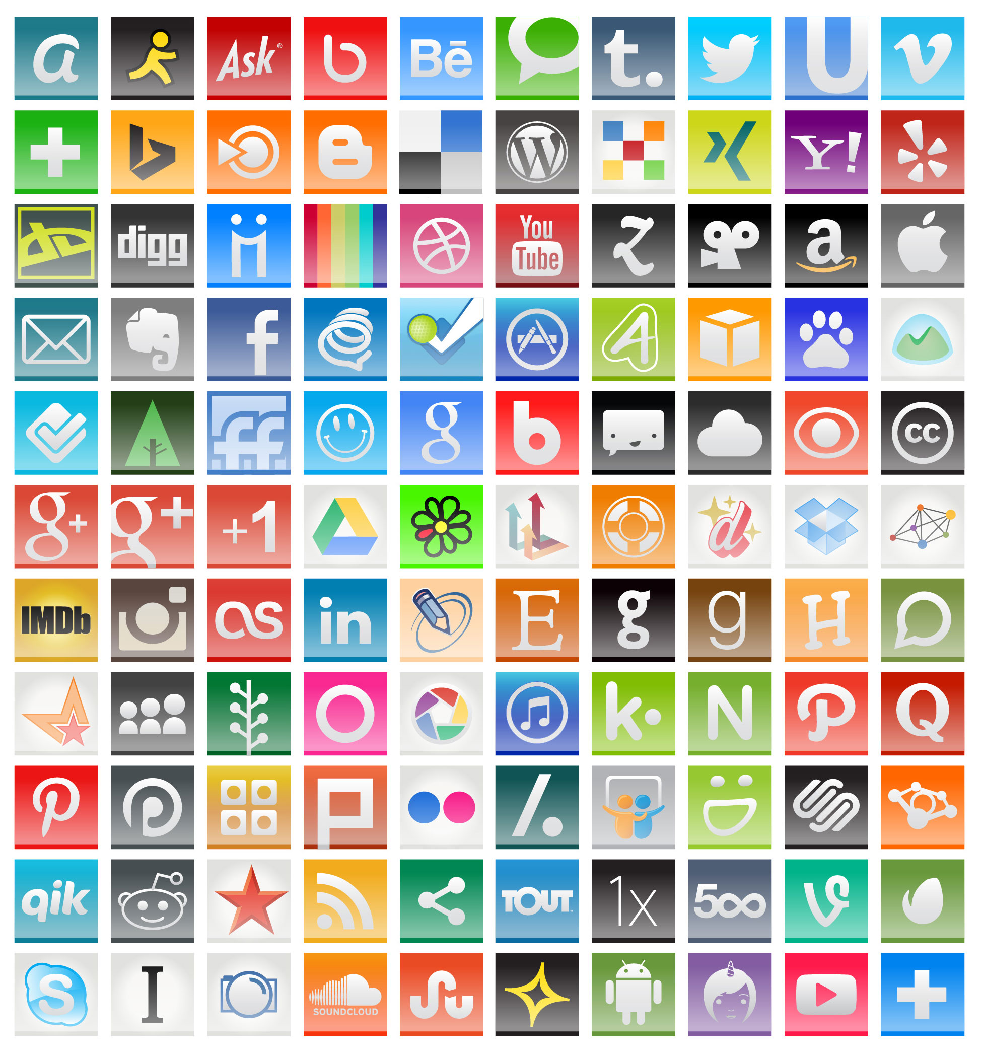 Social Media Icons for Freelance Writing Marketing Web Content